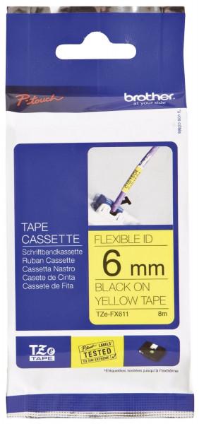 Brother® TZe 611 Schriftbandkassette - laminiert, 6 mm x 8 m, schwarz auf gelb