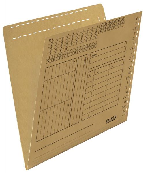 Falken Einstellmappe mit Schlitzstanzung braun, Kraftkarton, 230 g/qm