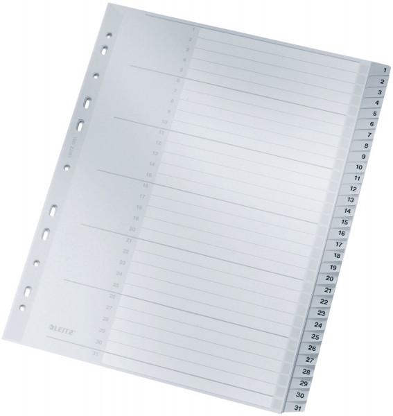 Leitz 1281 Zahlenregister 1-31, PP, A4 Überbreite, 31 Blatt, grau
