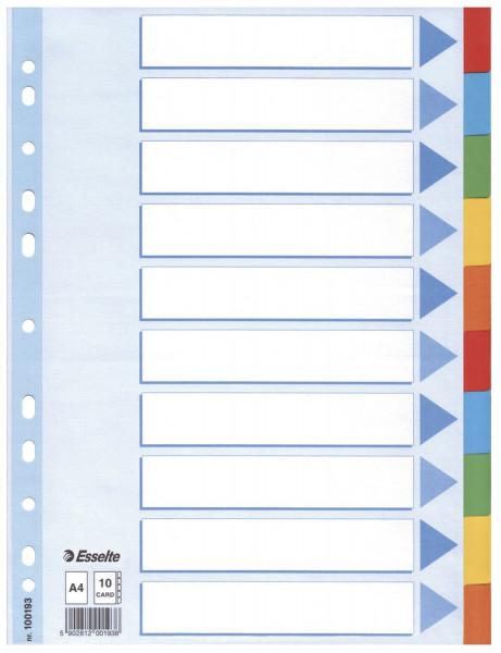 Esselte Register blanko, Karton, A4, 10 Blatt, weiß, farbige Taben