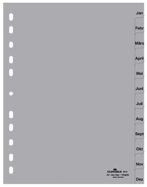 Durable 6514 Register Jan. - Dez., A4, PP, grau, 12 Blatt