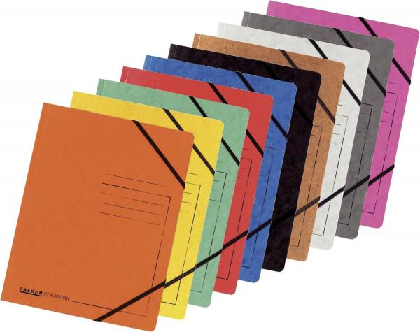 5 Falken Eckspanner A4 Colorspan - intensiv 5 farbig sortiert, Karton 355 g/qm