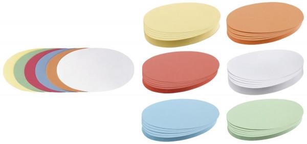 Moderationskarte Oval, 190 x 110 mm, sortiert, 500 Stück