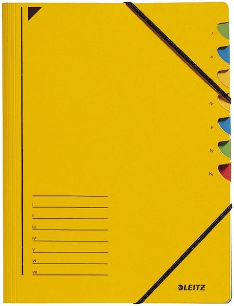 Leitz 3907 Ordnungsmappe, 7 Fächer, gelb Colorspankarton