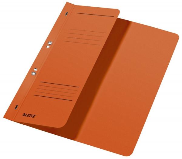 Leitz 3740 Ösenhefter, orange, halber Vorderdeckel, A4, kfm. Heftung, Manilakarton, Halbhefter